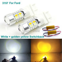 For Ford led light Excellent Ultrabright 3157 Dual-Color Switchback LED Bulbs+Load Resistor,Front turn Signal light