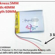 3 линии 504050 3,7 в 1500 мАч(полимерный литий-ионный/литий-ионный аккумулятор) для смарт-часов, gps, mp3, mp4, сотового телефона, динамика