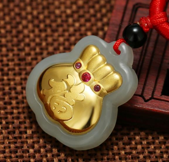 Fine Jewelry Steady Hetian Baiyu Gold Inlay Jade Pendant Fubao Jade Pendanth32# Pendants