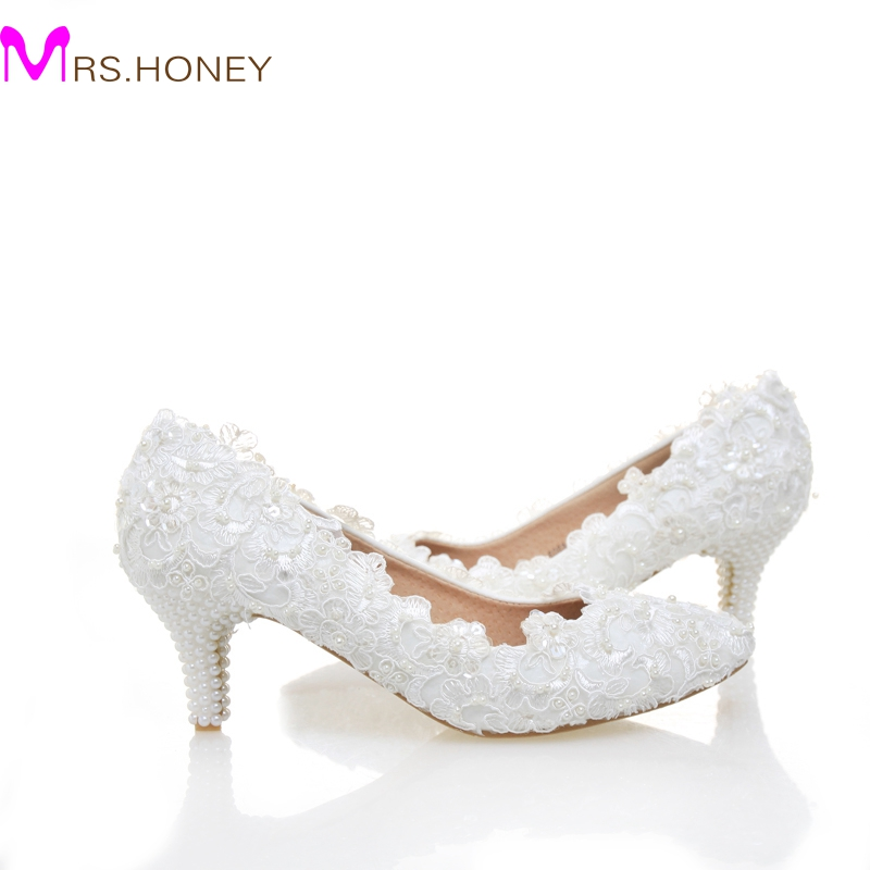 White Lace Low Heel Wedding Bridal Shoes Kitten Heel Bridesmaid Shoes Elegant Party Embellished Prom Shoes Lady Dancing Shoes luxurious elegant ivory pearl wedding party dancing shoes bridal shoes pointed toe kitten heeled shoes woman lady dress shoes