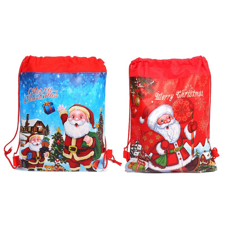 High Quality Merry Christmas/Santa Claus Theme Drawstring Gifts Bags Cinch Sack Kids Favors Baby Backpack
