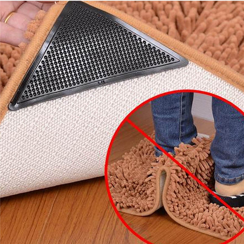 2017 Top 4pcs Reusable Silicone Rug Carpet Mat Grippers Non Slip Corners Anti Skid Home Bathroom Living Room Pad In From Garden On