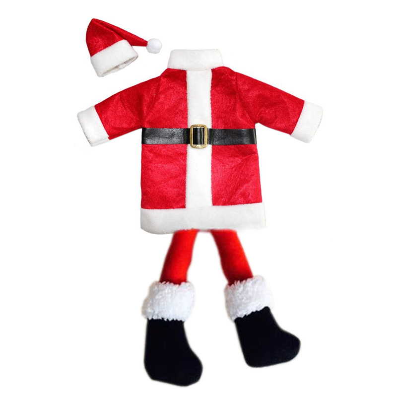 New Christmas Santa Suit Wine Bottle Cover Wrap Hat Cap Holiday Decoration Chris