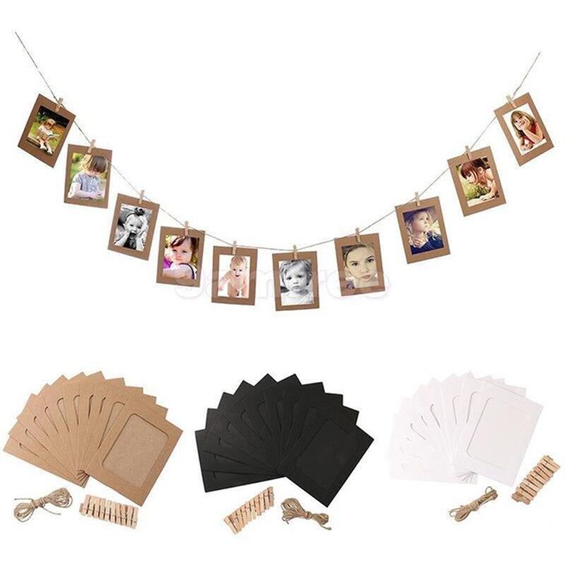 10 шт. висит Фотобумага Frame клипы веревка комплект держатель фото набор украшения стены