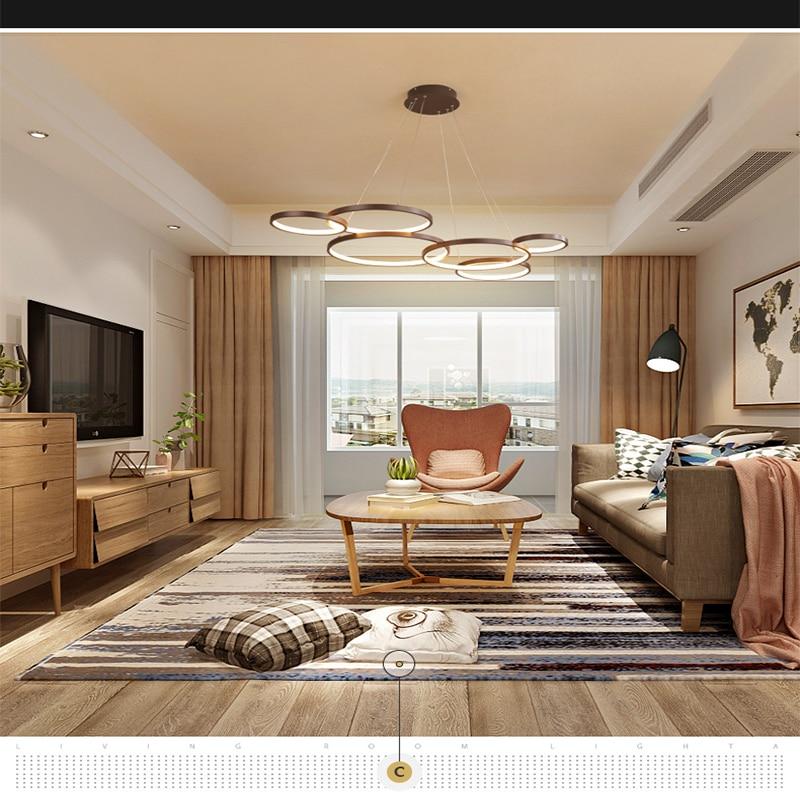 Chandelier brown bedroom living room Nordic Creative circle geometry led chandelier Indoor Lighting RC Dimmable ceiling lamps