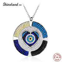Shineland 2017 New Arrival Luxury 925 Sterling Silver Love Heart Round Mirco Paved Beads Pendant Necklace