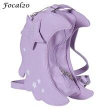 Focal20 Harajuku Lolita Mond Form Sterne Drucken Dekoration Handtasche Crossbody Vintage Casual Umhängetasche für Frauen
