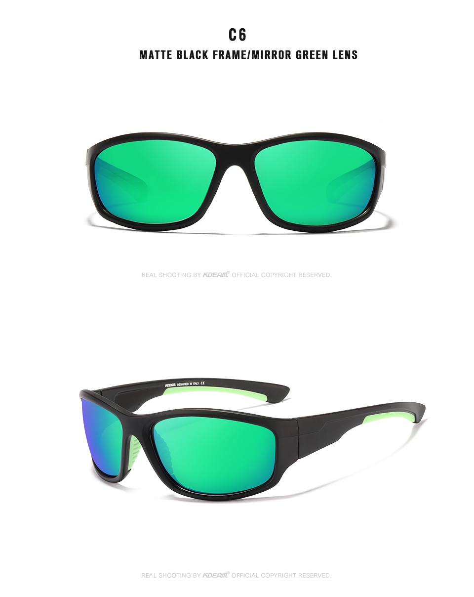 KDEAM Unbreakable TR90 Sport Sunglasses Men Excellent Outdoor Driving Glasses Suit for Any Face Shades KD712
