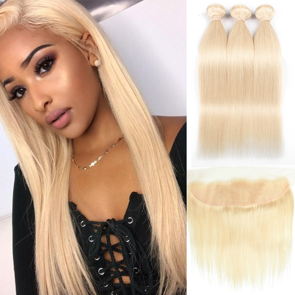 MQYQ Brazilian Remy Straight Human Hair Lace Frontal Closure With Bundles 613 Blonde Human Hair With