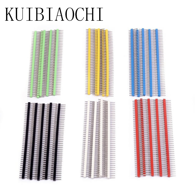 30pcs/LOT Pin Connector Male 2.54mm Pitch Pin Header Strip Single Row 40 pin Connector Kit for PCB board 6 Colors Each 5pcs