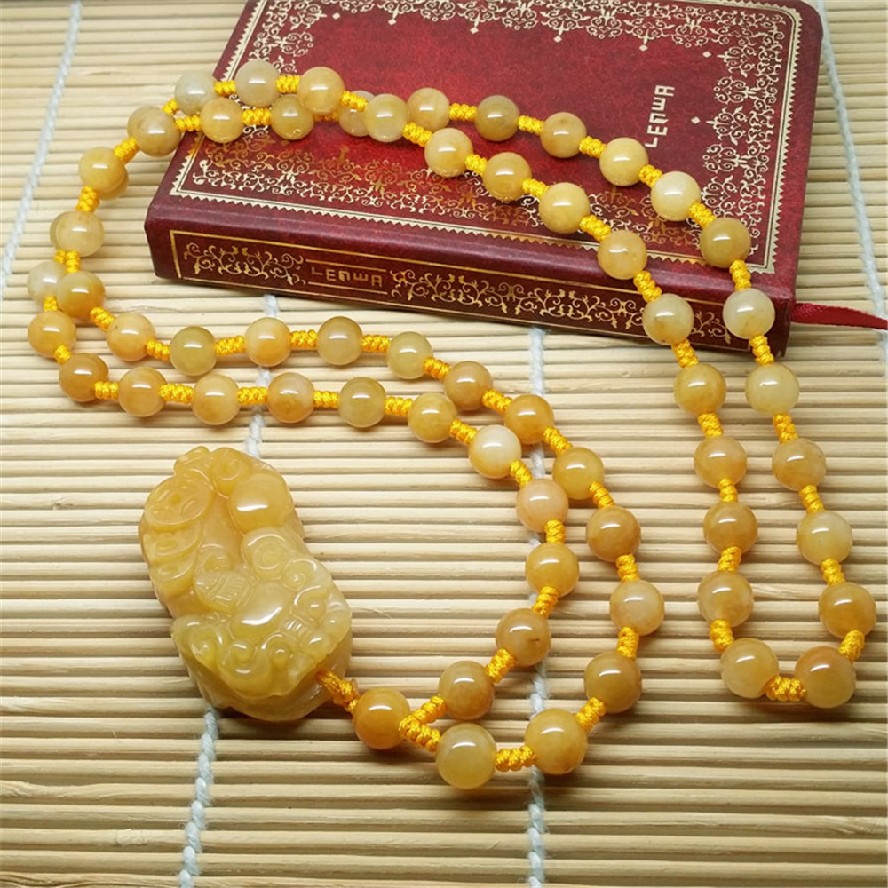 Hand Carved Natural Old Topaz Attract Wealth Three Coin Pixiu Pendant Necklace Long Jade Beads Chain Women Or Men Sweater Chain