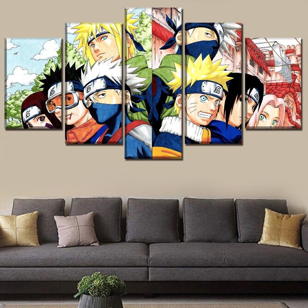 Tableau Naruto shippuden 1 Cadre photo modulaire 5 panneaux D cor artistique mural affiche de personnages Anime Naruto toile haut