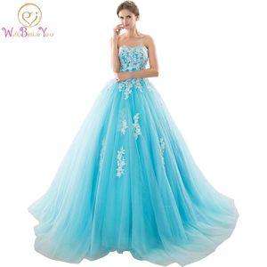 Image 1 - במלאי מתוקה כחול Quinceanera שמלות כדור כותנות עם אפליקציות תחרה עד מתוקה 16 שמלות Vestidos דה 15 שנים המפלגה שמלות