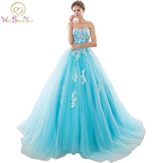 재고 있음 Sweetheart Blue Quinceanera Dresses 아플리케가있는 볼 가운 Sweet 16 Dresses Vestidos De 15 Years Party Gowns