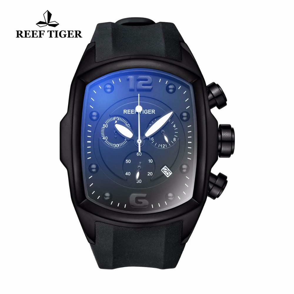 Reef Tiger/RT Chronograph Sport Watches for Men Steel Rubber Strap Luminous Watches Big Dial with Date Design Watch RGA3068 reef tiger rt chronograph sport watches for men dashboard dial watch with date quartz movement steel watches rga3027