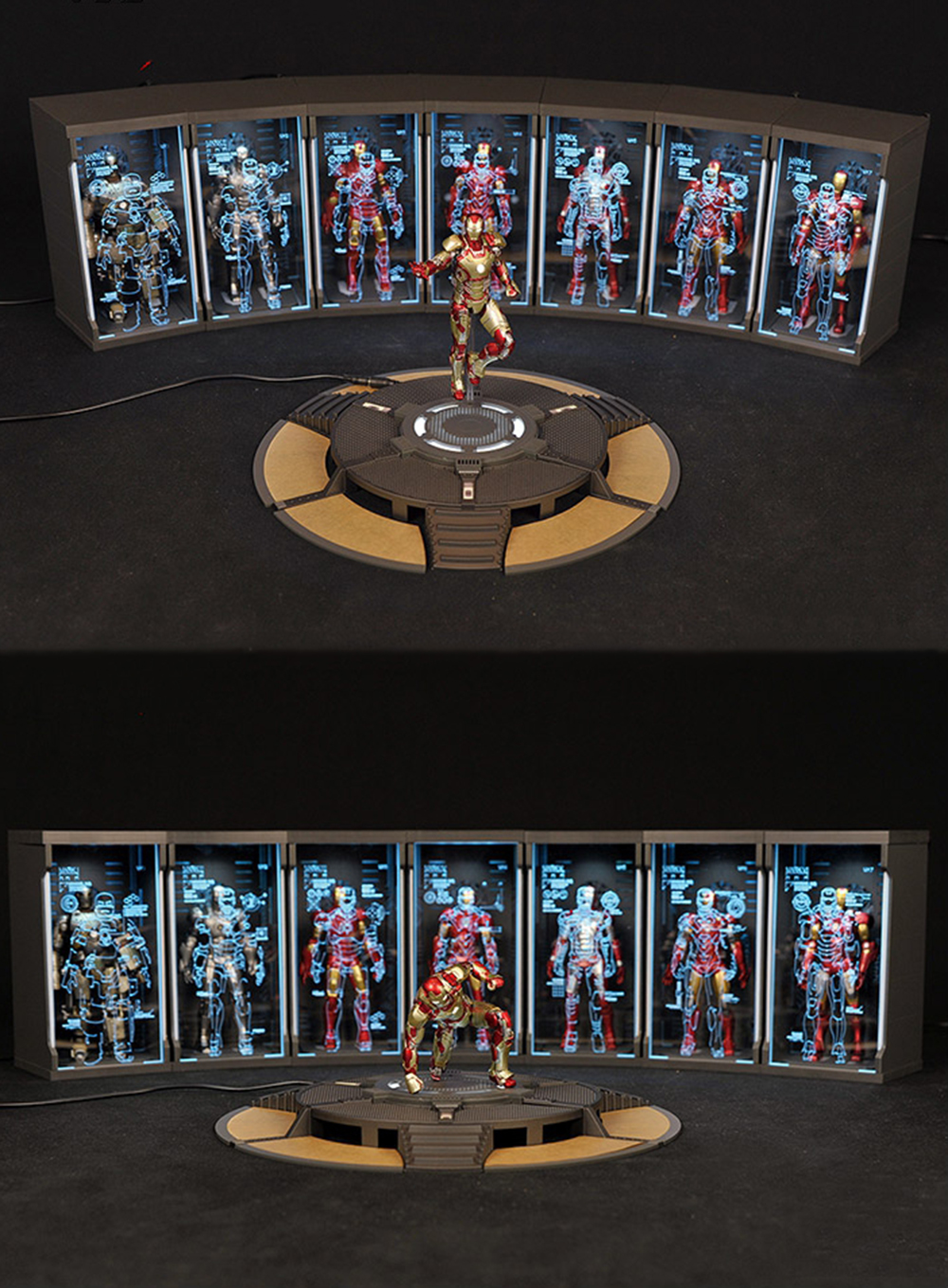 Action figure Scene props 1 12 Iron Man Tony Stark 1 12 Scale Comicave SHF Round Text Work Stand 6 inches in Action Toy Figures from Toys Hobbies