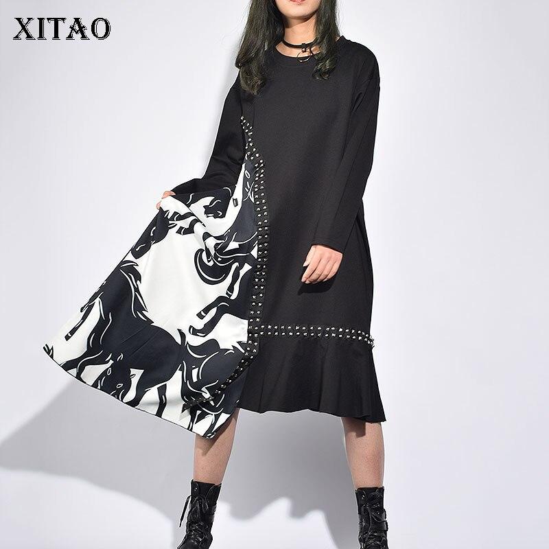 [XITAO] 2019 printemps nouvelles femmes mode o-cou manches longues tenue décontractée femme Patchwork Rivet mi-mollet lâche robe LJT3874