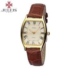 Лучший подарок женщины платье мода повседневная ремень из натуральной кожи часы Женские старинные ретро часы Высочайшее качество Julius 703 час времени