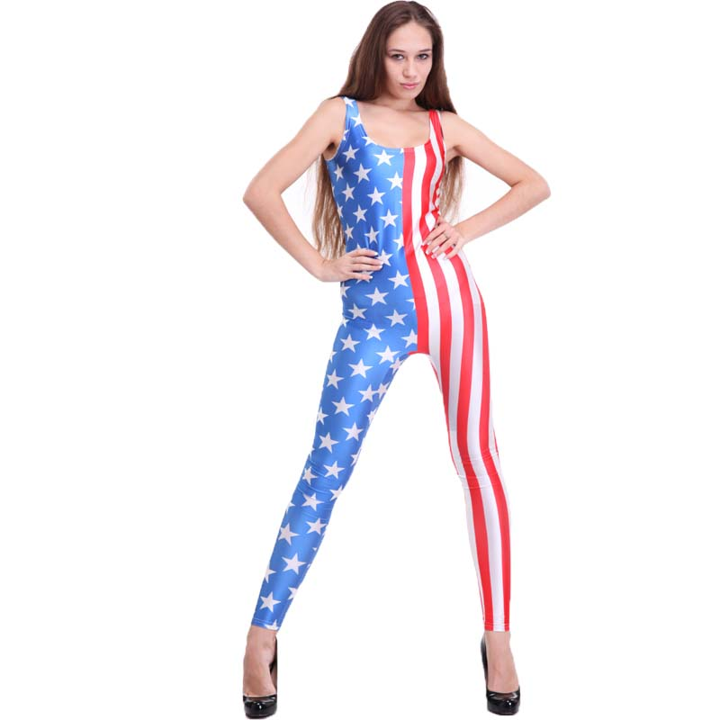 4f3ec0e45a51 SEXY rompers womens jumpsuit Stars and Stripes Catsuit Teddy Plus Size  Overalls Clothes Club Costume Custom Jumpsuit for women on Aliexpress.com