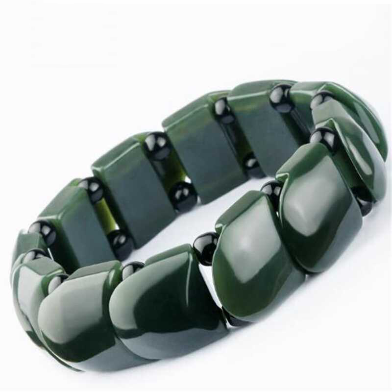 KYSZDL 2019 New Style Hetian Jade Mens Bracelet Natural Qing Vintage Hand Row Gift Jewelry