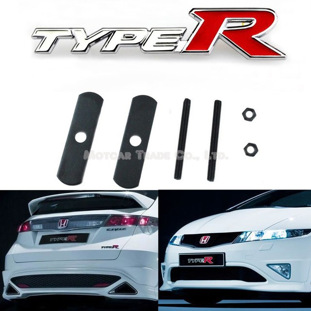 Car styling 3d metal white red typer logo front hood grille badge grille emblem auto