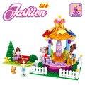 Sueño princesa de la muchacha parque carrusel de bloques de construcción bloques de los niños juguetes de los ladrillos educativos compatible con leping diy