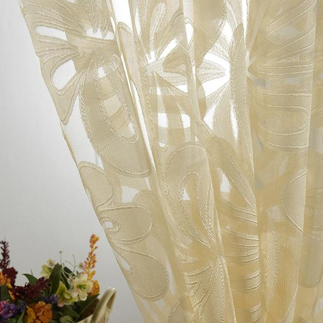 Hot Sales Door Window Home Textile Flower Embroidered Curtains Fabric Tulle Sheer  Curtain 5576