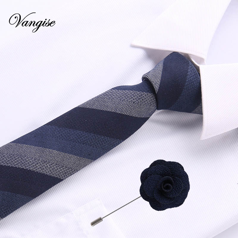 2pcs Casual Cotton Ties And Brooch Set Floral Slim Ties For Men 6cm Brown Necktie Gray Skinny Printed Neck Ties