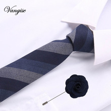 2pcs Casual Cotton Ties And brooch Set Floral Slim For Men 6cm Brown Necktie Gray Skinny Printed Neck
