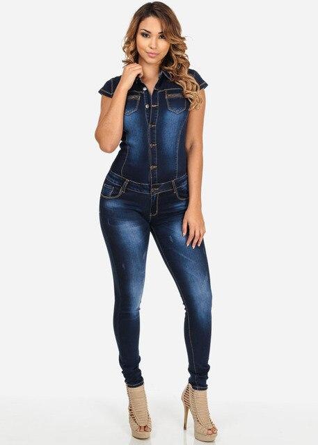 abb46ec8128acd € 15.65 36% de réduction Nouveau femmes bleu Jeans combinaison dames Club  robe de nuit barboteuses femmes Sexy simple boutonnage Slim bouton Zipper  ...