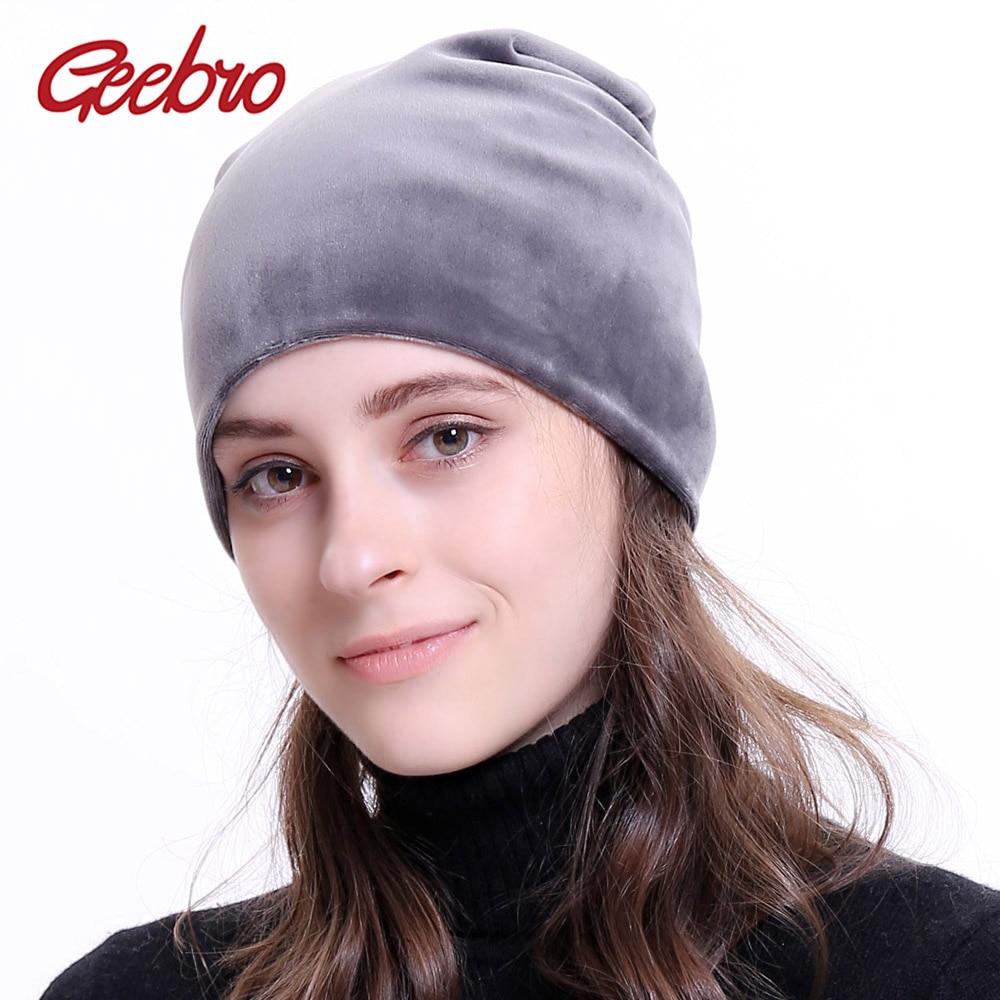 Geebro Brand Women's Beanie Hat Winter Velour Warm Slouchy Beanie For Women Autumn Velvet Balaclava Female Skullies Hat DQ034
