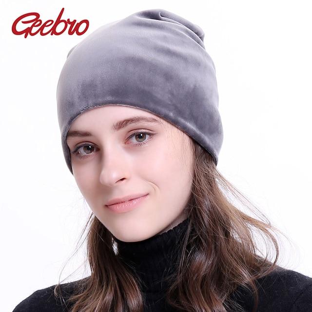 089ef935cca76 Geebro Brand Women s Beanie Hat Winter Velour Warm Slouchy Beanie for Women  Autumn Velvet Balaclava Female Skullies Hat DQ034