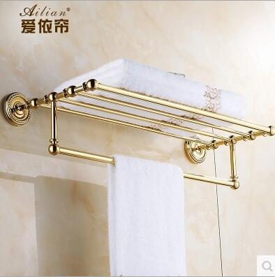 Luxury All Copper Gilt Gold Bathroom Accessories Continental Shelf Towel  Rack Bathroom Towel Rack Washroom