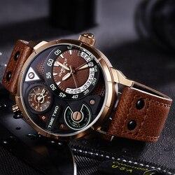 Eyki super grande multicamadas estereoscópico dial dois fuso horário display moda relógio do esporte dos homens à prova dwaterproof água luminosa marca de luxo relógio