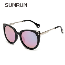SUNRUN New Polarized Sunglasses Women Fashion Cat Eye Sun Glasses Brand Designer Coating Mirrored Glasses Oculos de sol Y9940