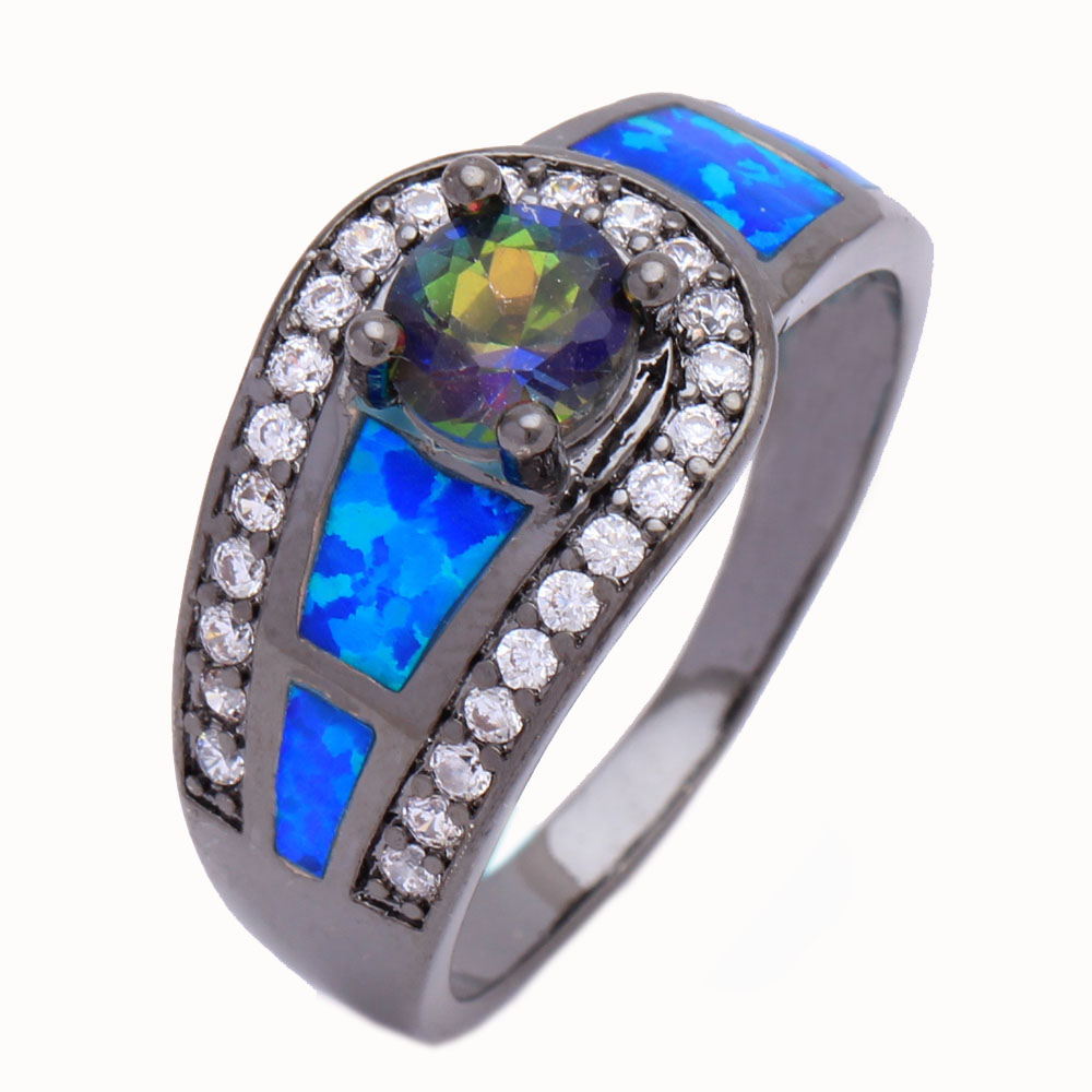 Black Goldcolor Blue Opal Wedding Rings Rainbow Crystal Engagement Ring  For Women Wholesale New