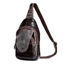 Paquete de pecho de Los Hombres bolsos de Hombro Del Cuero Genuino bolsos Del Mensajero Cross body Bag Sling Back pack