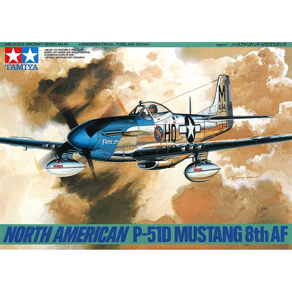 OHS Tamiya 61040 1/48 North American P51D Mustang 8th AF Assembly Airforce Model Building Kits oh цена