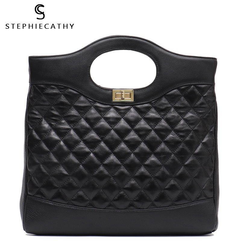 SC Brand New Real Leather Handbags Women Large Bucket Luxury Black Plaid Top handle Hobos Soft