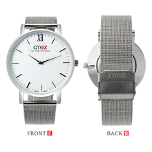 O novo OTEX @ marca de moda de luxo relógio das mulheres simples bonita tecelagem cinto, aço inoxidável relógio de quartzo presente.