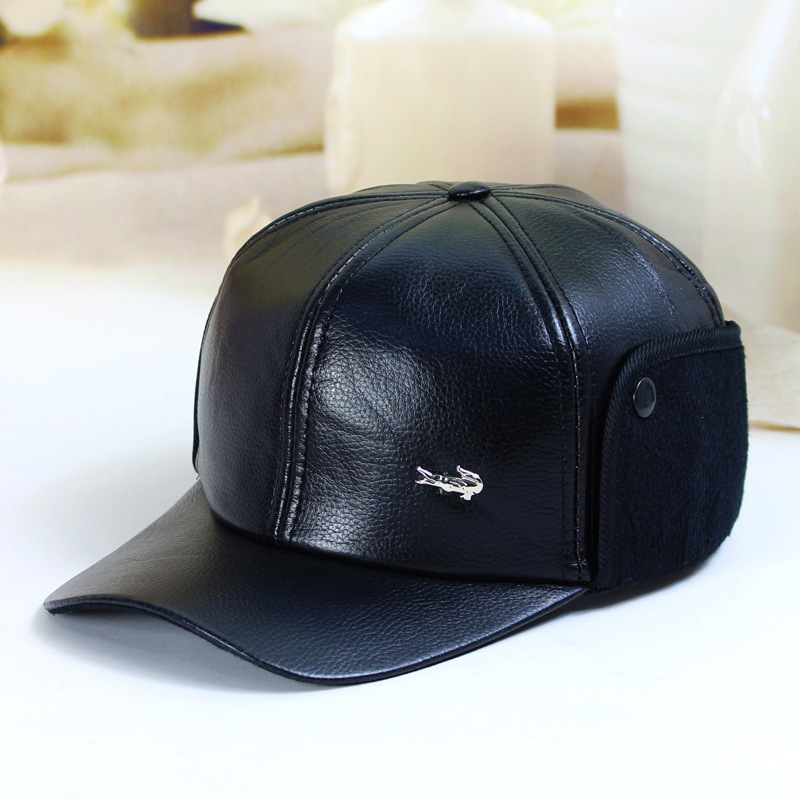 d316e163c8d Fibonacci High quality men s winter hat warm ear protection plus velvet  thick middle aged elderly leather baseball cap-in Visors from Apparel  Accessories on ...