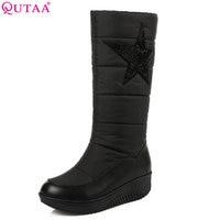 QUTAA 2018 Women Mid Calf Boots Wedge Med Heel Winter Shoes Women Five Pointed Star Elastic