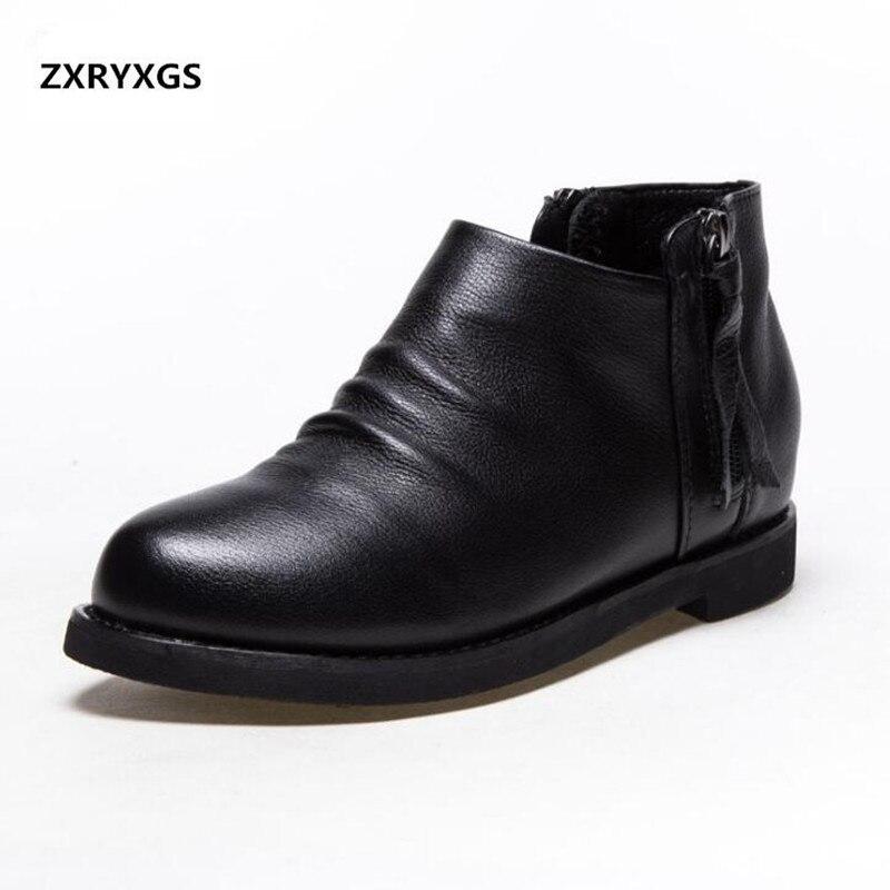 8aa5559e3a567b En Plat Cheville Nouveau Mode Black 2019 Fraîches D'été Femme 100 Véritable  Bottes Single Chaussures black Cuir Hollow Augmenter Boots De ...