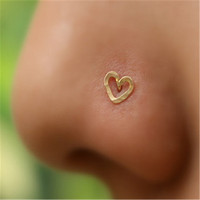 Heart nose stud 925 sterling silver Heart Nose Piercing body jewelry 36 pcs/box