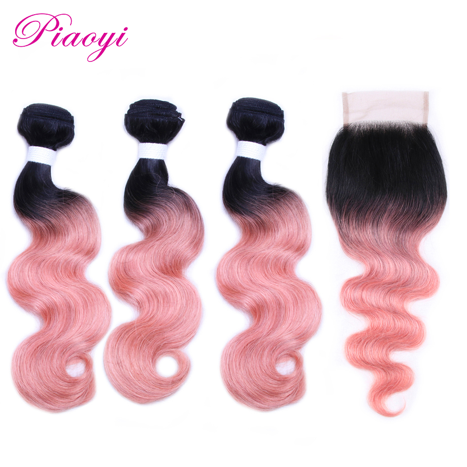 Piaoyi Body Wave Bundles With Closure Non Remy OT Rose ...