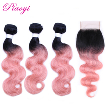 Piaoyi Body Wave Bundles With Closure Non-Remy OT Rose Gold Ombre Color Peruvian Hair Weave Bundles With Closure 4PC