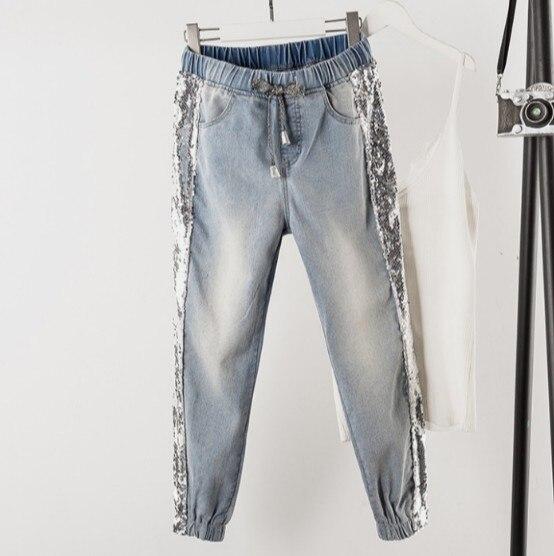 Fashion Side Sequins Jeans Women Loose Elastic Waist Casual Big Size Harem Pants Spring Autumn Students Plus Size Jeans Trousers