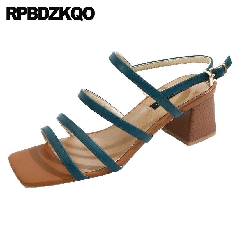 Grueso Mujer Sandalias Alto Slingback Gladiador Beige azul Tacones Tacón Fornido Verano Vintage Tiras Turquesa Correa Zapatillas negro De Cuadrado Señoras Beige Bloquear Zapatos Romano TqnZxpvI