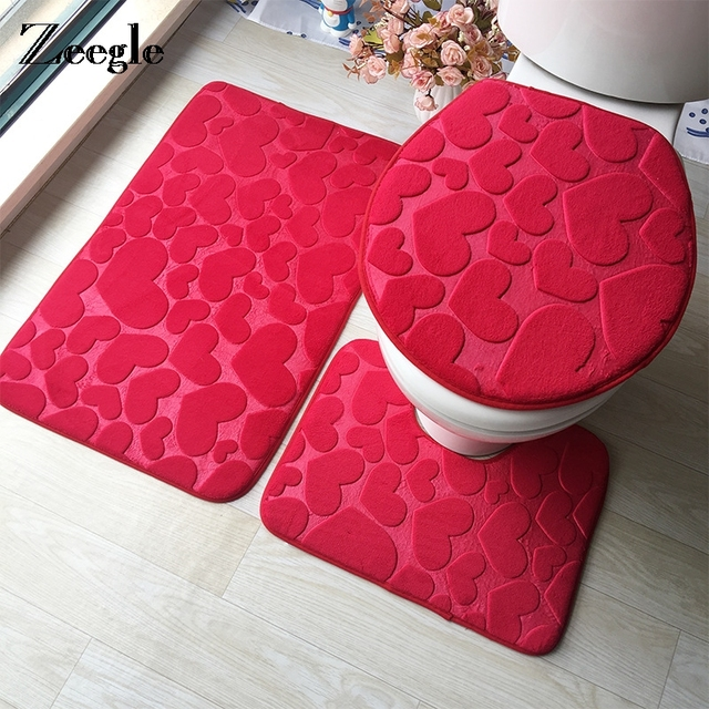 Zeegle Heart Printed Bathroom Carpet 3pieces Microfiber Bath Mats Set Anti Slip Toilet Rugs