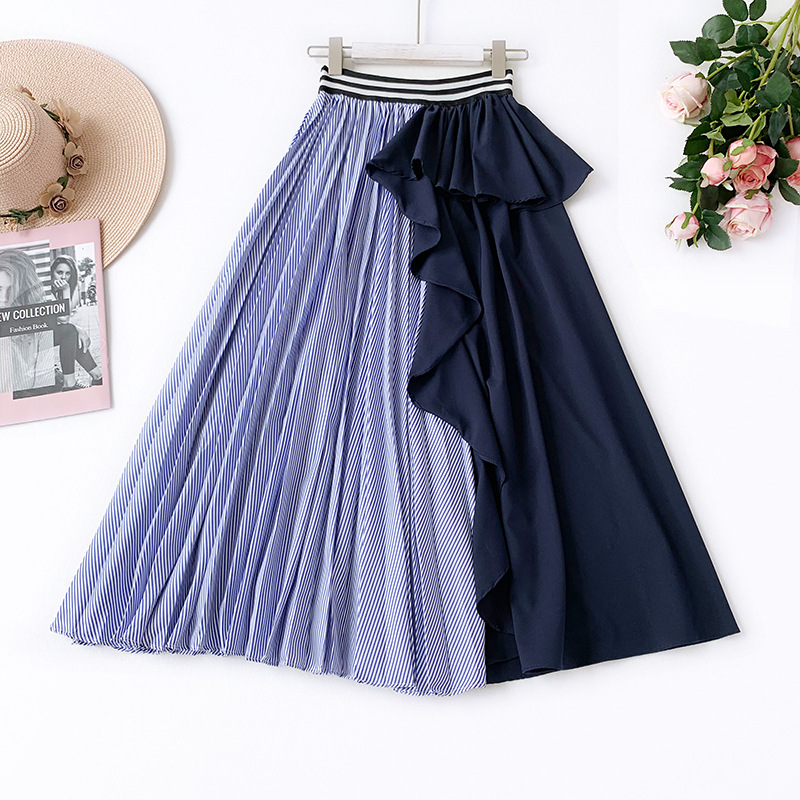 Wasteheart Spring Blue Black Women Skirt A-Line Casual Ankle-Length Long Skirt Asymmetrical Clothing Sexy Sweet Sexy Long Skirts